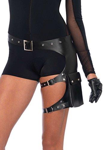 Leg Avenue Kostüm Zubehör Garter Utility Belt Gürtel mit Oberschenkel Taschen (Kostüm Utility Belt)