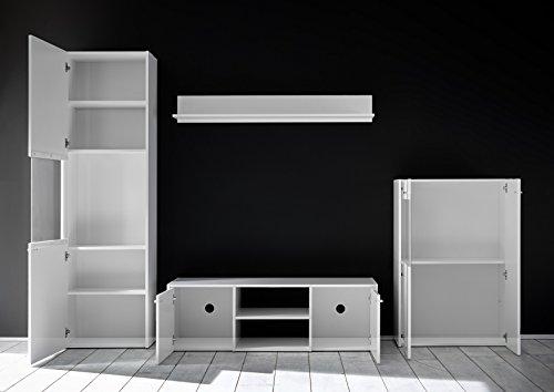 Wohnwand 4-teilig weiß Hochglanz modern mit LED-Beleuchtung - 3