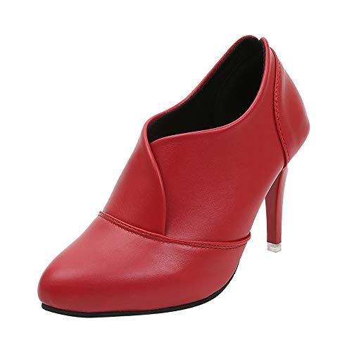 Yvelands Damen Spitze Schuhe Pure Color Slip-On Stiefel High Heel Single Schuhe(Rot,36.5 EU)