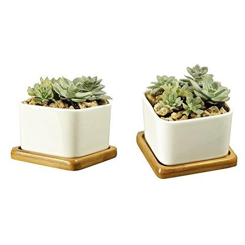 Nextnol 2Weiß Keramik Quadratisch Design Sukkulente Topf/Cactus Pflanztopf mit Bambus Tablett