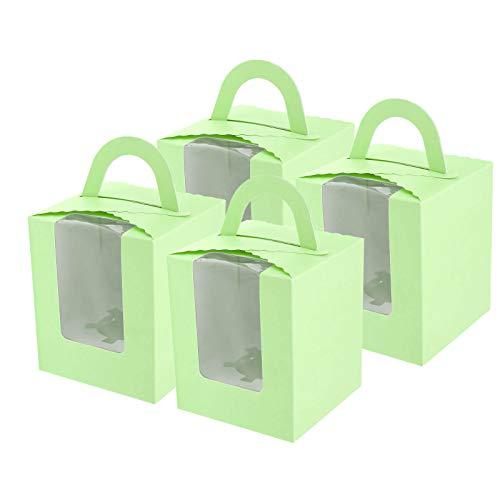 ENET - Set di 20 scatole per Dolci con Finestra in PVC Trasparente, per Muffin e Cupcake, Colore: Verde