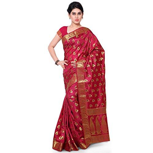 Varkala Silk Sarees Women's Art Silk Banarasi Saree With Blouse Piece(ND1018WN_Wine_Free Size)