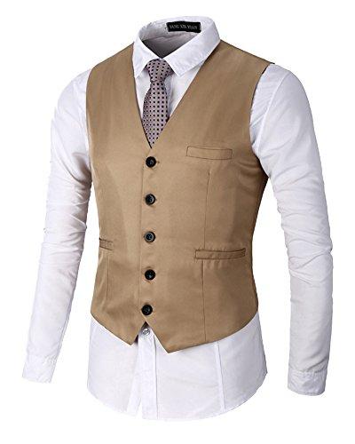 Homme Slim Fit Sans Manches Business Mariage V-Cou Couleur Unie Gilet Costume Veste Kaki S