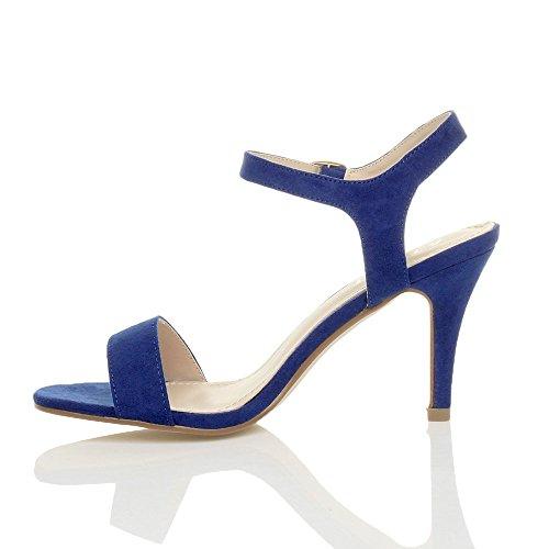 Donna alto tallone partito caviglia cinghietti cinturino scarpe sandali numero Blu Cobalto Scamosciata