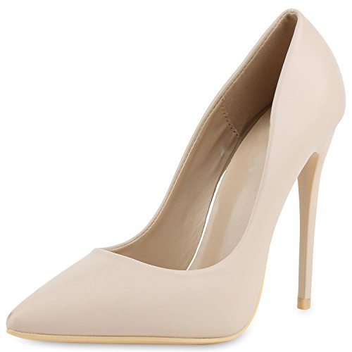 Damen Spitze Pumps Stilettos High Heels Leder-Optik Elegante Schuhe Creme Beige 38