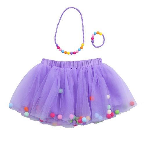 Vectry Bekleidungssets Baby Mädchen Kinder Outfits Tüllrock Tutu Rock + Armband + Halskette Set(0T-10T)(Lila,2-6 ()