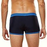 CICIYONER Hibbing Herren Badehose Männer Boxershorts Lace-up Halo Contrast Sexy Boxer Swim Farbe: Navy Schwarz Grau Weiß Größe: S/M/L/XL Bademode (M, Navy)