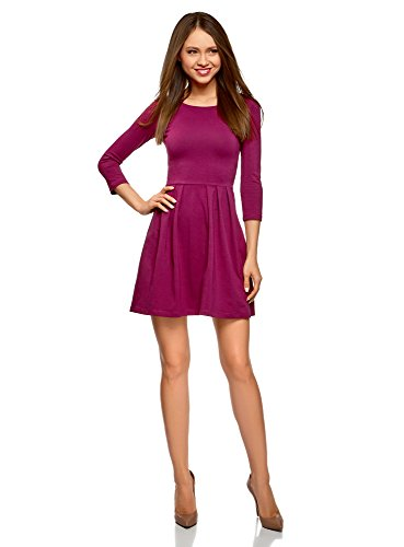 oodji Ultra Damen Tailliertes Kleid mit Ausgestelltem Rock, Violett, DE 34 / EU 36 / XS (Lavendel-kleid-schuhe)
