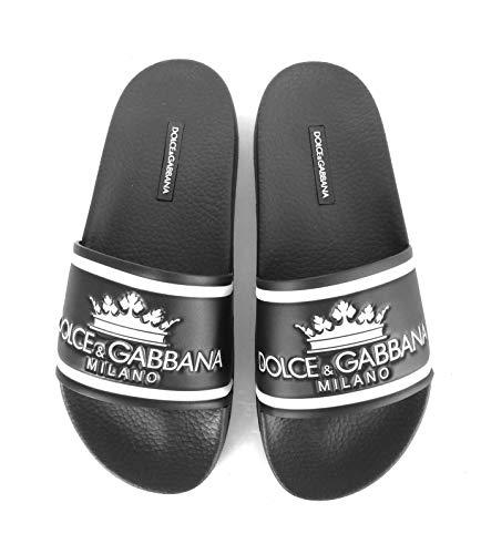 Dolce & Gabbana Sandelholz aus Gummi für Herren CS1630 AU679 HNR18 Schwarz, Schwarz - Schwarz/Weiß - Größe: 45 EU