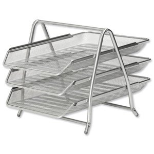 osco-mesh-letter-tray-3-tier-scratch-resistant-stackable-front-load-portrait-foolscap-silver-ref-3tt