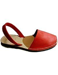 Auténticas avarcas menorquínas, rojo nobuck, abarcas, albarcas, sandalias