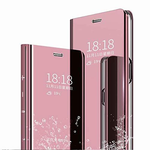 FanTing Funda para Xiaomi Redmi Note 7,Flip Cover Carcasa, Inteligente Case [Soporte Plegable] Caso Duro con del sueño/Despierte Función -Oro Rosa