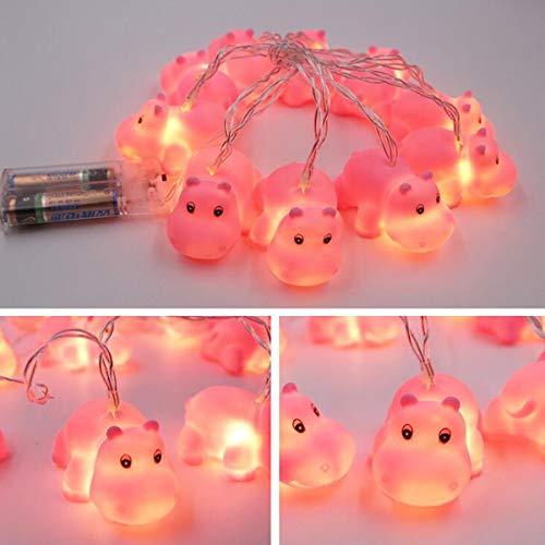 Gugou LED-Lichterkette mit 10 Lichtern, batteriebetrieben, niedliche Tier-Form, für Innen- und Außenbereich, Halloween, Weihnachten, Erntedankfest, Party, Kinderzimmer, Dekoration Nilpferd