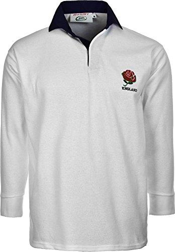 Active Wear England English Retro Rugby Shirts Erwachsene S M L XL XXL 3X L 4X L 5X L Full Sleeve Exklusive Größe L Weiß - White/Navy Colour -
