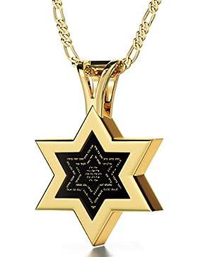 Davidstern Kabbala Kette Ana Bekoach und Name Gottes Graviert auf Hebräisch mit 24k Gold auf 10mm Onyx Anhänger...