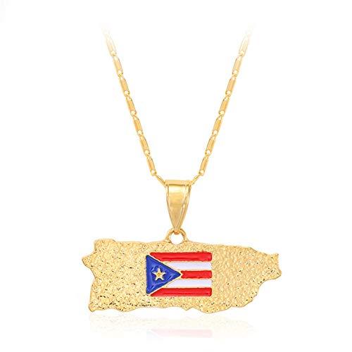 Xinmeitezhubao Anhänger Halskette/Puerto Rico Karte Anhänger Halskette/verkupfert Kette Halskette Sweater Chain,D