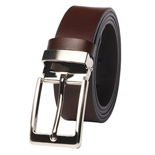 Cinturón Hombre Cuero - M.R Cinturones de Piel Negro Marrón Clásico