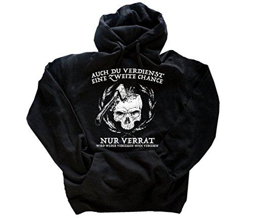 Viking-Shirts Auch du verdienst eine zweite Chance-nur Verrat wird weder vergessen noch vergeben Kapuzen-Sweat-Shirt Schwarz XXL
