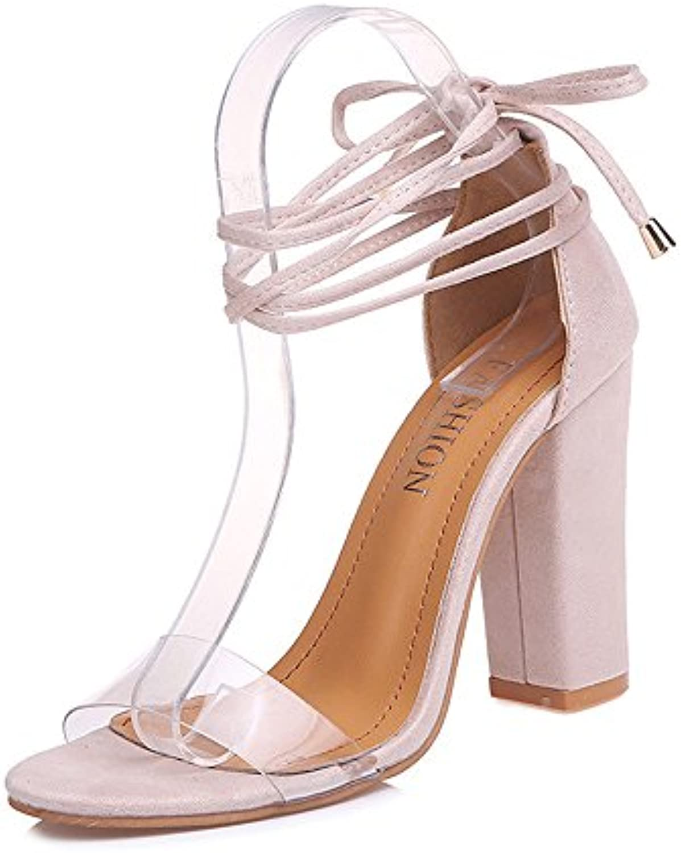 Tingtingbin Sandalias femeninas Las Mujeres Sandalias De Tacón Alto del Tobillo Parte Peep Toe Zapatos Mujer Sandalias... -
