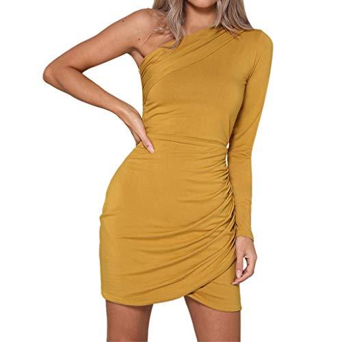 Btruely Vestido Mujer Verano Mini Vestido con Cuello Halter de un Solo Hombro Vestido de Color sólido Sexy Falda Moda Mujer Fiesta Vestido Boho