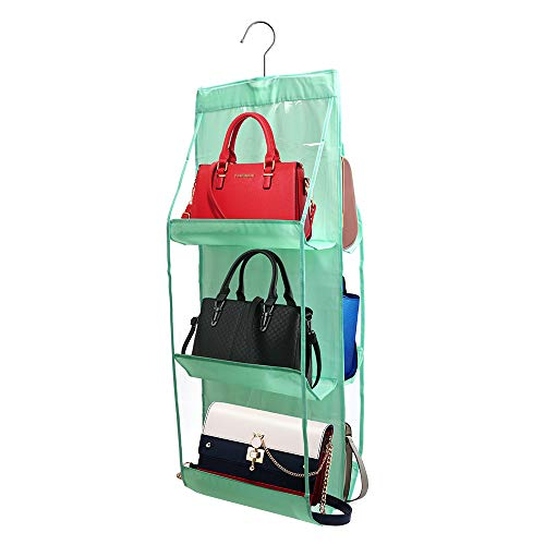 Hängende Handtasche Organizer (Mai Hongda Kleiderschrank hängende Geldbörse Organizer für Handtasche, Clutch Taschen, Badetuch, staubdicht, Aufbewahrungshalter, große Taschen, Oxford-Stoff, waschbar für Damen Green 6 Pockets)