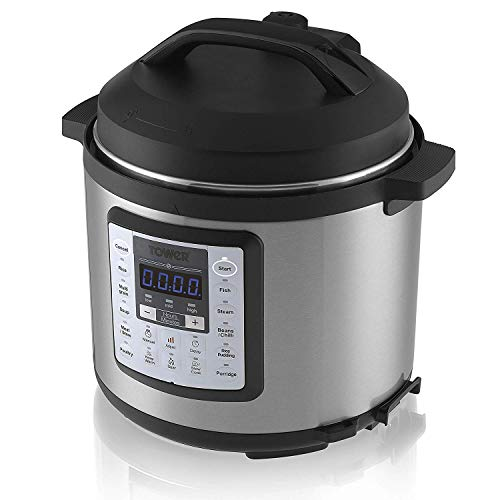 416BwhIKUbL. SS500  - Tower 14-in-1 Multi-Cooker Electric Pressure Cooker, Steams, Slow Cooker, Saute, Rice Cooker, Rice Pudding Maker and Warmer with Programmable Timer Finished in Stainless Steel, 5.5 Litre