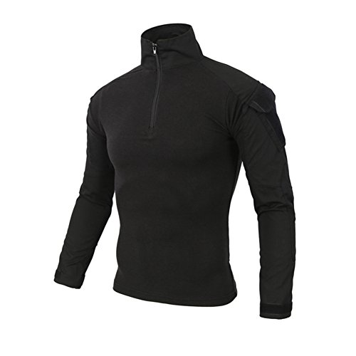 Cotton Shirts Men Long Sleeve Winter Shirt Mens Military Shirt Tactical Long Sleeve Camo T-Shirt for Army Airsoft Paintball Black M