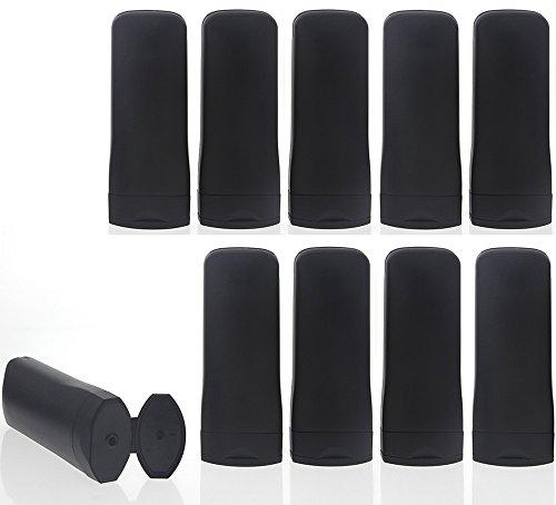 Leere ovale Klappflaschen, schwarz für Cremes und Lotionen. Kosmetex Dusch-Gel, Shampoo-Flasche, 10 Stück