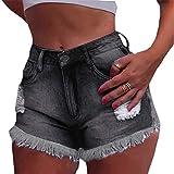 Cocoty-store 2019 Pantalones Cortos Mujer Básicos Gimnasio Pantalones Cortos Mujer Verano Vaqueros Cintura Alta Short Yoga Pantalones Calientes High Waist ️Tejanos (Negro,L)