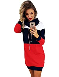 Robe Sweat à Capuche Color Block,Overdose Manches Longues Oversize Robe Sweat Longue Casual Pullover Hoodie Dress