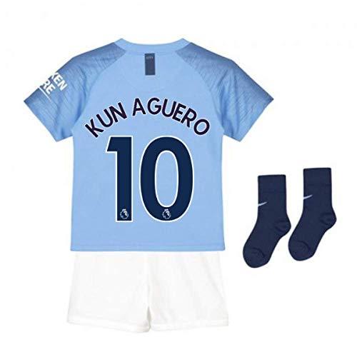 374cce27965 UKSoccershop 2018-2019 Man City Home Nike Little Boys Mini Kit (Sergio  Aguero 10