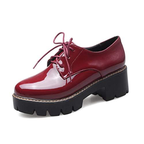 Frauen Thick Heels Oxford Schuh Frühling Herbst Lace-Up Solide Lackleder Creepers Casual Plattform Keile Schuhe