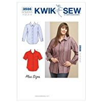 KWIK - SEW PATTERNS K3586 Size 1X - 2X - 3X - 4X Shirts, Pack of 1, White