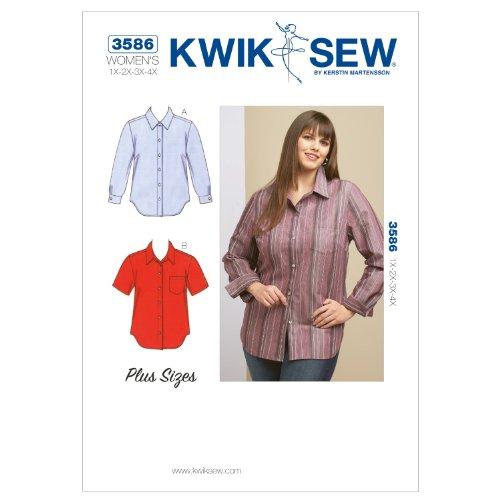 KWIK - SEW PATTERNS K3586 Size 1X - 2X - 3X - 4X Shirts, Pack of 1, White