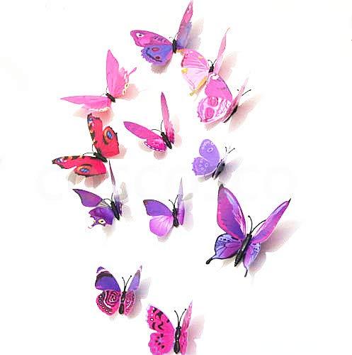 12 pegatinas de pared con diseño de mariposa en 3D magnéticas, para decoración del hogar, bricolaje, decoración de habitación (B2, morado y rosa)