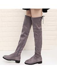 YTTY Stivali da Donna Di Grandi Dimensioni Stivali Elasticizzati con  Cerniera Piatta Sui Fianchi e7ac43066b3