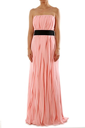 MACloth Women Strapless Long Bridesmaid Dress Chiffon Formal Party Evening Gown Silber