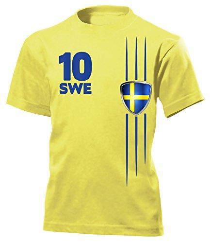 Schweden Fanshirt Streifen 3297 Kinder T-Shirt (K-G) Gr. 152 (Schweden-fußball-t-shirt)