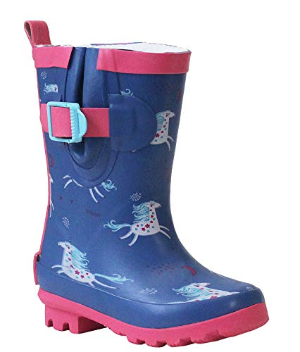 Girls Kids Infants Adjustable Mid Calf Unicorn Waterproof Fleece Lined Wellies Rain Puddle Boots UK 6-4