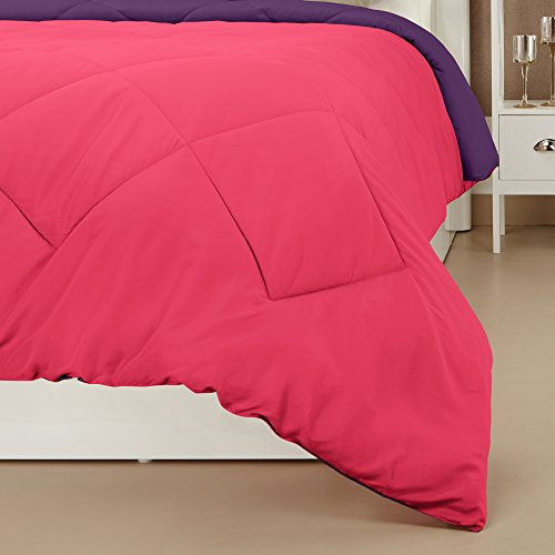 Amazon Brand - Solimo Microfibre Reversible Comforter, Single (Vivid Pink & Majestic Purple, 200 GSM)