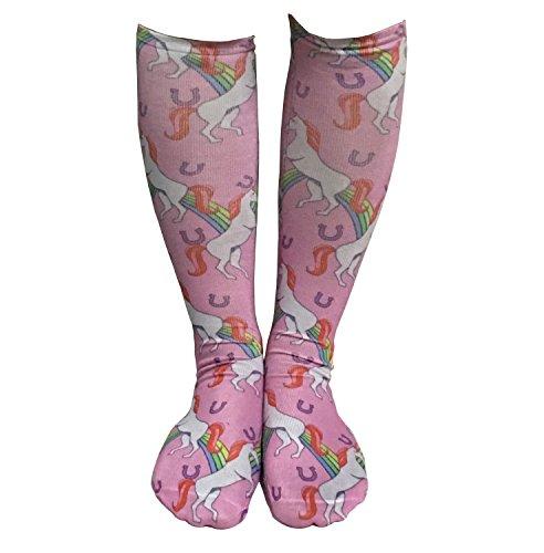 Das beste Socken Damen 3D Ausdruck lustige Frauen Kniestruempfe Strand Neuheit Cosplay Strümpfe Schöne Mädchen Socken Sommer Strand Mode Einhorn-Muster Print Socken Tier Socken (Einhorn-Muster)