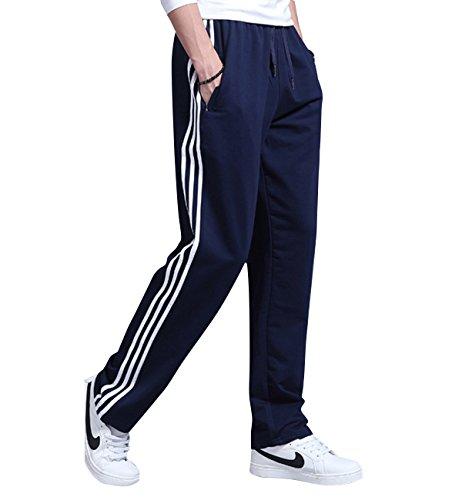 Lachi pantaloni tuta uomo in cotone casual vita alta pantalone sportivo diritto chiusura caulisse exlarge