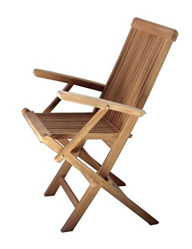 BEHO Natürlich gut in Holz ! 2 Klappstühle mit Arm Epppendorf 56x60x89 cm Teakholz selected Kernholz unbehandelt zusammengebaut