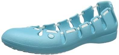 crocs Springi Flat Womens 11977-47W-460, Damen Ballerinas, Blau (Aqua/White 47W), EU 38/39