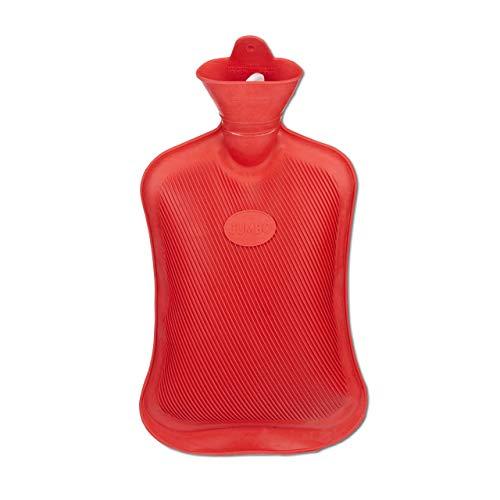 Relaxdays Wärmflasche ohne Bezug, langlebig, sichere Wärmeflasche, 2 l Bettflasche, geruchsneutraler Naturgummi, rot