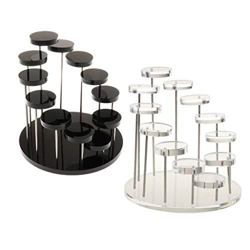 Hellery 2 Stücke Acryl Schmuck Aufbewahrungsring Ständer Display Organizer Halter Rack Tablett Drehbar Galerie Tray