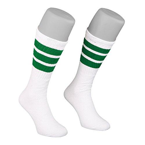 Skatersocks 19 Inch Unisex Tube Socken Strümpfe weiß grün gestreift - 19-zoll-strumpf
