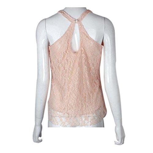 Damen Tank Xinan Sommer Sleeveless Hemd Spitze Weste Spitzenbluse Rosa