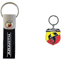 Abarth 21757 Black Band Key Ring, Nero, Taglia Unica & 21754 Soft Touch Shield Key Ring, Giallo E Rosso, Taglia Unica