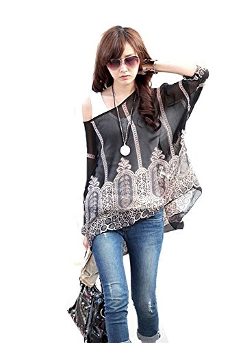 JLTPH Donna Bohemian 3/4 Sleeve Chiffon Blouse Off Shoulder T-shirtTop Color18